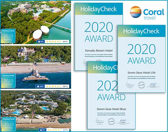 Ексклюзивні готелі Coral Travel отримали нагороду HolidayСheck 2020