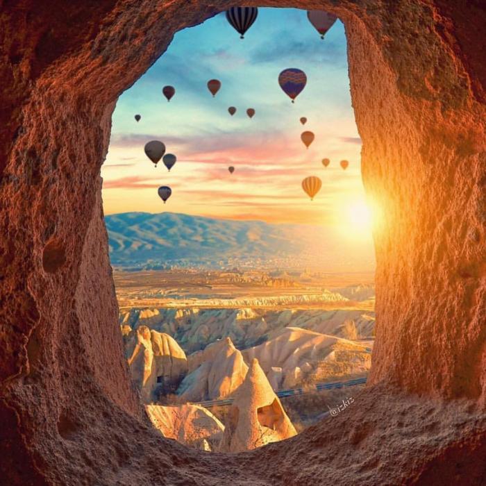 Восход солнца в Каппадокии - Турция.