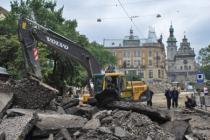 На улицах Львова ведутся ремонтные работы